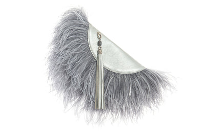 Le Petit Ostrich Feather Clutch Bag In Silver
