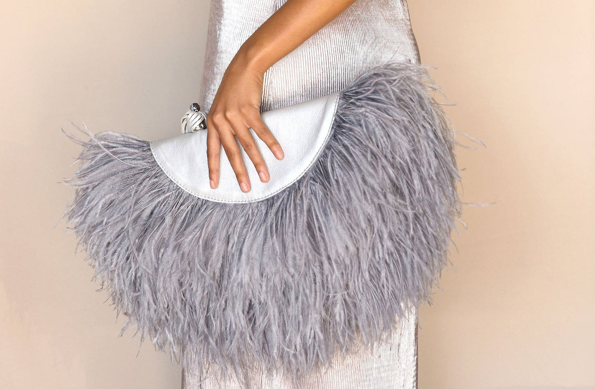 Le Petit Ostrich Feather Clutch Bag In Silver - Matsidiso International