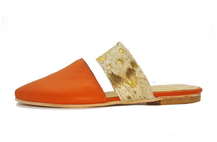 Lea Slider In Orange / Gold Splash Bovine - Matsidiso International