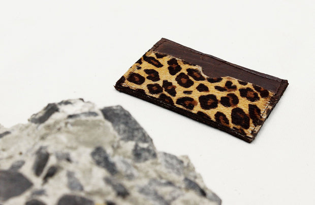 Leather Card Holder In Espresso / Jaguar - Matsidiso International