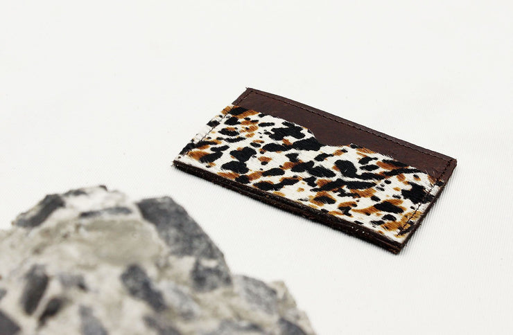 Leather Card Holder In Espresso / Splash Cowhide - Matsidiso International