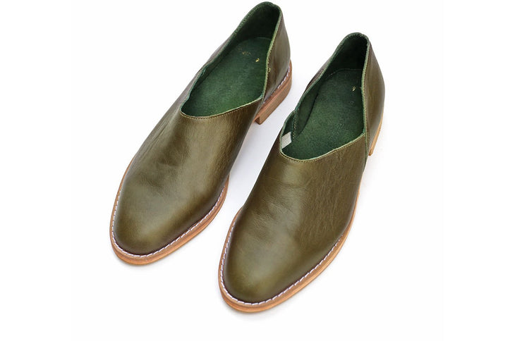 Mens Karabo Slip On In Olive - Matsidiso International