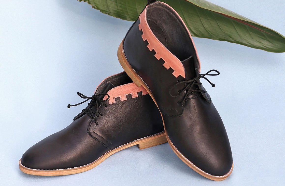 Mens Tlali Chukka Boot In Black / Rose - Matsidiso International