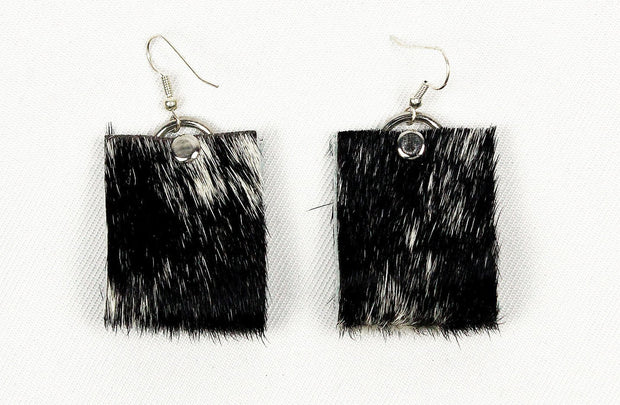 Oba Loop Earrings In Salt Pepper Nguni - Matsidiso International