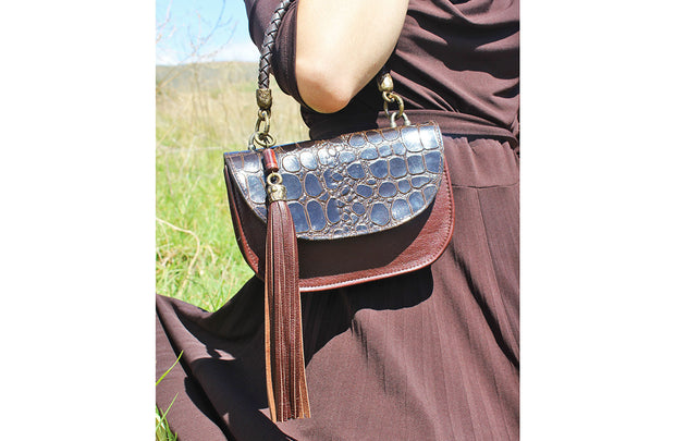 The Camille Bag In Chocolate / Croc