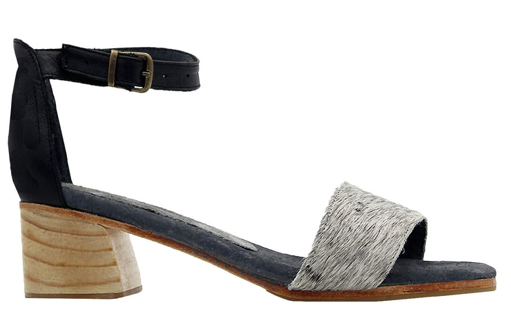 Patricia Block Heel In Black / Nguni Salt & Pepper