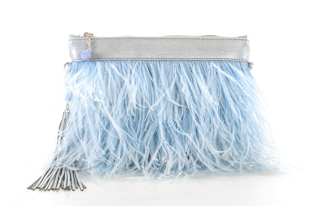 The Day Sling In Blue Ostrich Feathers - Matsidiso International