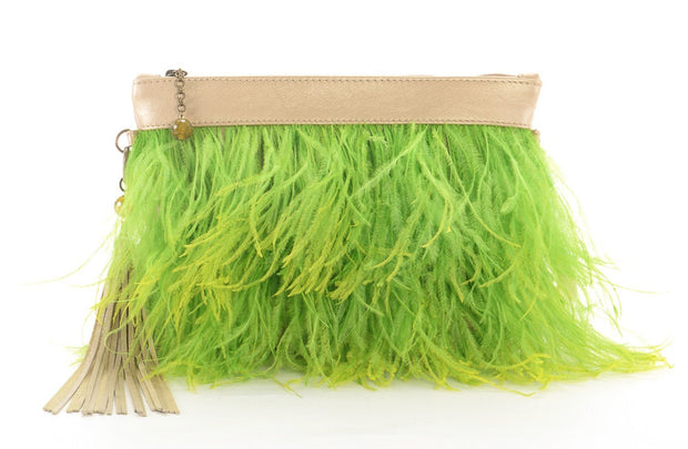 The Day Sling In Lime Ostrich Feathers - Matsidiso International