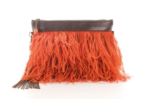 The Day Sling In Orange Ostrich Feathers - Matsidiso International