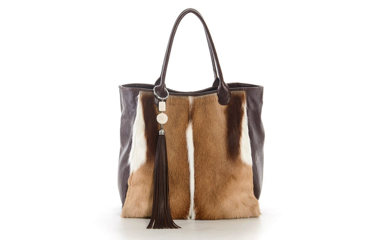 The Elan Convertible Shopper In Natural Springbok / Choc - Matsidiso International
