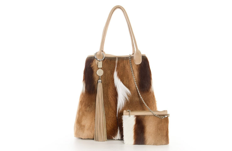 The Elan Convertible Shopper In Natural Springbok / Sand - Matsidiso International