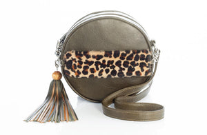 The Virago Two Way Bag In Olive / Cheetah - Matsidiso International