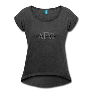 African Fabric Co. Women's Roll Cuff T-Shirt - heather black