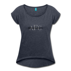 African Fabric Co. Women's Roll Cuff T-Shirt - navy heather