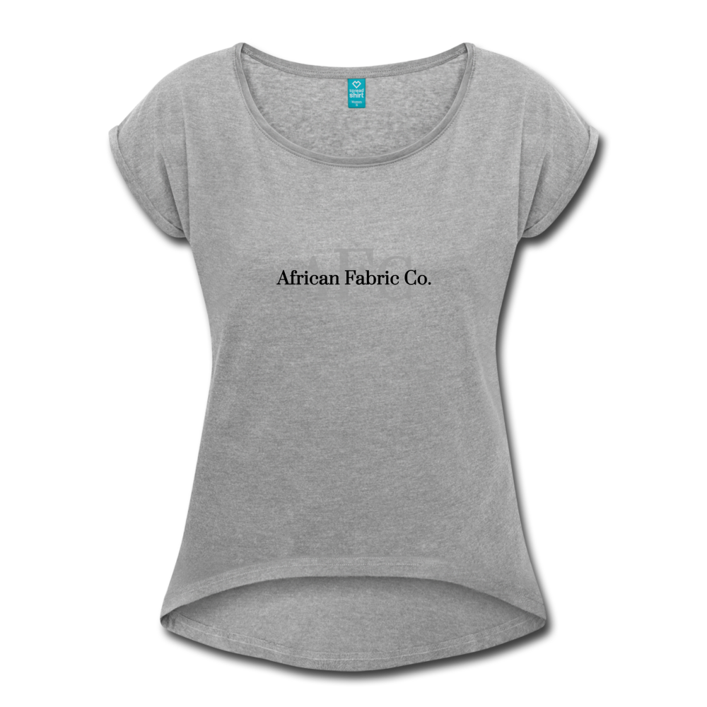 African Fabric Co. Women's Roll Cuff T-Shirt - heather gray