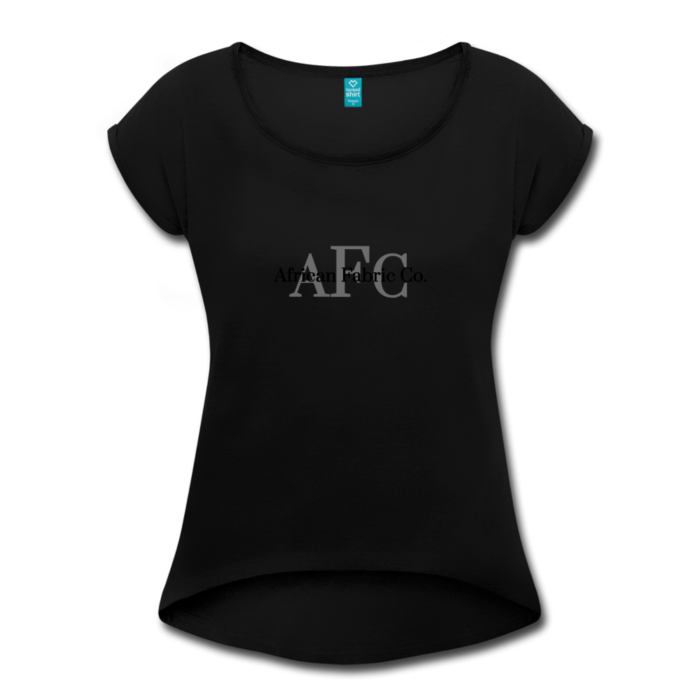 African Fabric Co. Women's Roll Cuff T-Shirt - black
