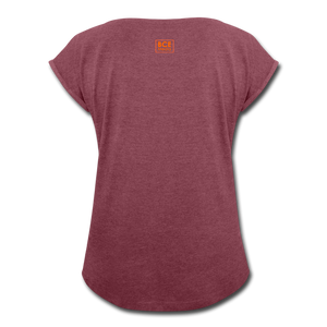 African Fabric Co. Women's Roll Cuff T-Shirt - heather burgundy