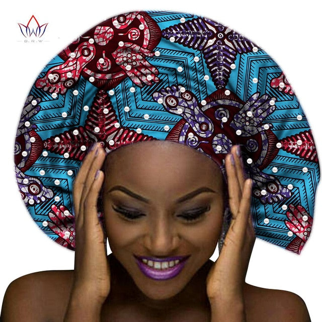 Handmade Multi-color Headtie Ankara Head Decorations Wrap Scarf with Perals African Ankara Printed Head Wrap