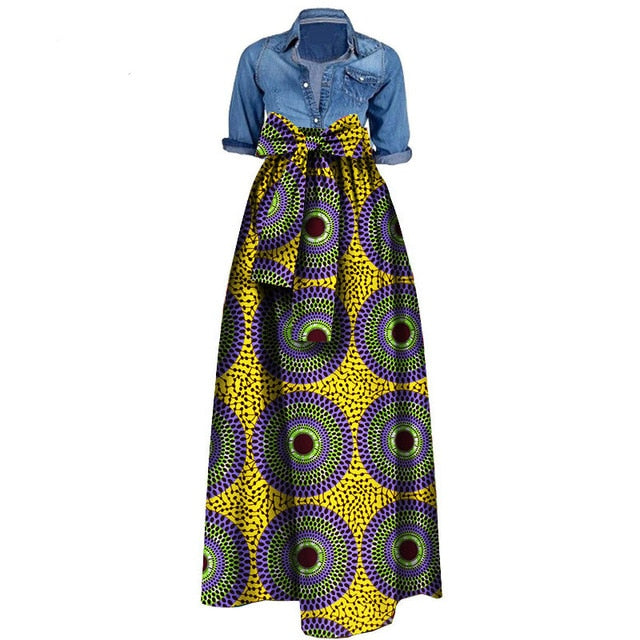 African Print Dresses for Women 2019 News Wax Fabric Skirts Traditioanal Dashiki Bazin Plus Size Party Fashion African Clothes
