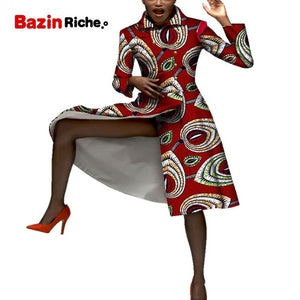 Casual African Coats Trench Lady Dashiki Coats Print Batik Female Africa Clothing