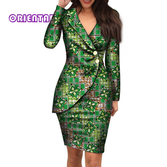 Autumn African Dresses for Women Fashion Office Style V-neck Long Sleeve Midi Dress Bazin Riche African Print Clothing WY4052