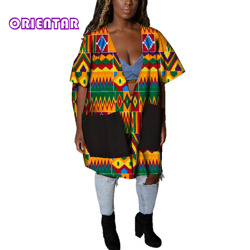 Casual African Clothes for Women African Print Cotton Loose Sexy Deep V Neck Dashiki Gown Women Bazin Riche Africa Blouse WY4803