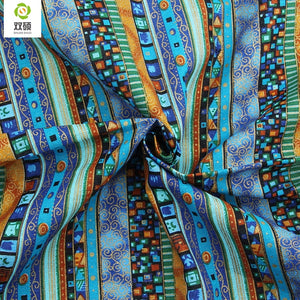 NEW  Blue Floral African Cotton Linen Fabric Meter  DIY Handmade Sewing Patchwork Fabric