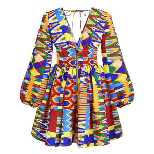 Ladies Clothes African  News Full Sleeve V-neck Dashiki Full Sleeve  Ankara African Dresses for Women Plus Vestidos