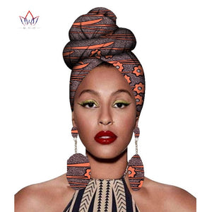 2020 African Headtie Print Headwrap Ankara Wax Fabric 100% Pure Cotton Scarf Kente Scarves And Earrings 2 Pieces Wyb56