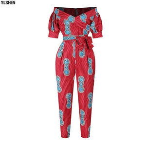 Dashiki African Clothes for Women Traditional Print  Jumpsuit Dresses Basin Riche Clothing Vetement Robe Africaine Femme