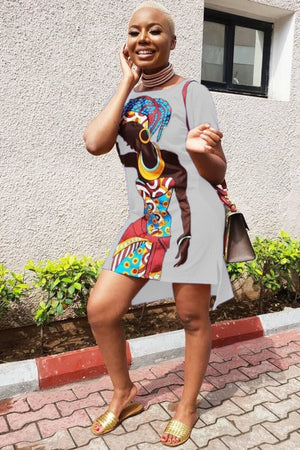 Fashion African Design Dashiki Ladies Dress Asymmetrical Women Summer Bodycon Dresses Casual Vestidos Female Africa Clothing