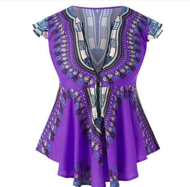 Fashion African Clothes  Top Dashiki Print Sexy Ankara Style Plus Size Summer T-shirts S-2XL Ethnic Short Sleeve Ladies