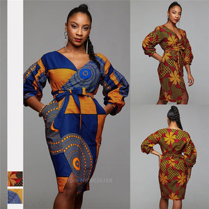 2020 Autumn African Dresses for Women Dashiki Print Ladies Clothes Cardigan Fashion Full Lantern Sleeve Bazin Vestido Ankara