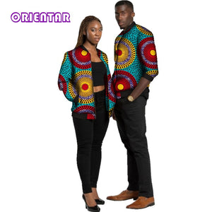 Autumn African Clothes for Couple Men Women Africa Print Long Sleeve Coat Tops Lover Couples Clothing Jacket Coat Outwear WYQ141