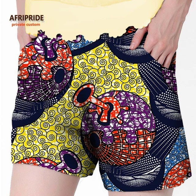 2019 African summer beach shorts for women ankara fabric dashiki print pants AFRIPRIDE private custom pure cotton print A722106
