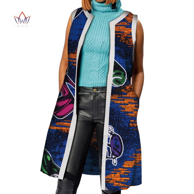 African Clothes Bazin Riche African Dresses for Women Dashiki Long Vest Coat Jacket
