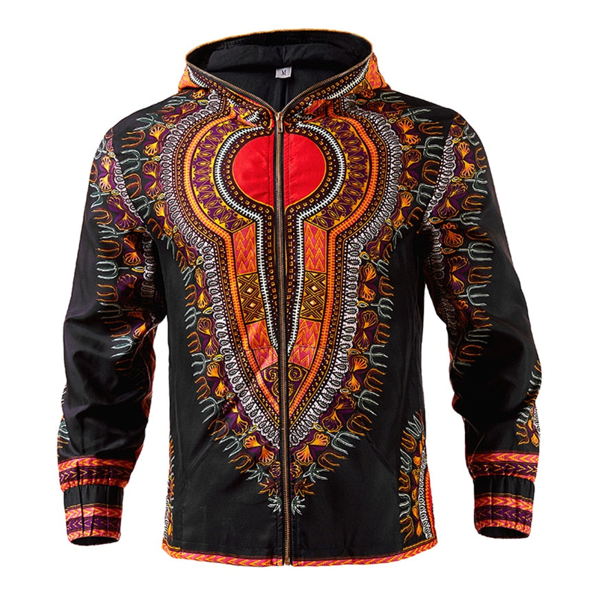 African Dashiki Men's Hoodie Jacket