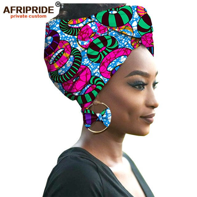 2020 fashion african headwraps+earings 2 piece sets for women bazin riche african head scarf pure cotton A19H002 AFRIPRIDE