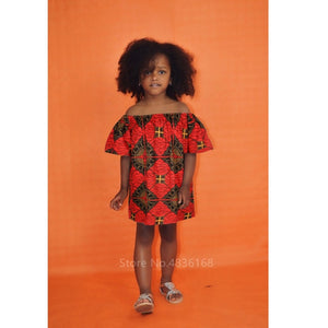 African Off  Shoulder  Dashiki Print Dresses