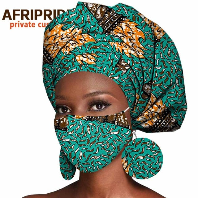 African Headwrap  Scarf Bonnet & Matching Mask