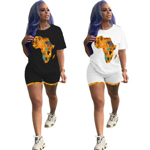 2020  African Women  Short Sleeve  Two Piece Set Top and Pant