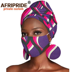 African Headwraps Earrings Print Cotton Headband Bonnet Ankara Wax Fabric Pure Cotton African Headscarf Mask Match Print A20H003