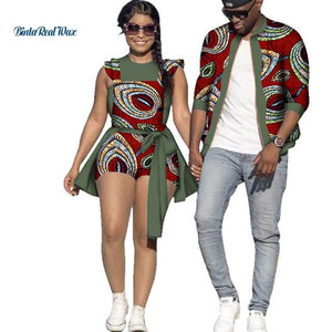African Print Jacket for Men and Jumpsuit Bodysuit for Women Family Clothing Lover Clothes Men Coat Top Couple Clothing WYQ195