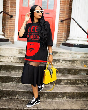 African Hip Hop T-shirt Dress Women Harajuku Long Tee New Half Sleeve Loose Tops