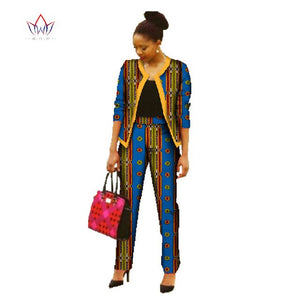 BRW Africa Pant Sets for Women New Spring  Dashiki Crop Top and Pants Africa Clothing Bazin Plus Size African Clothing WY022