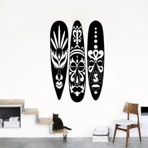 Modern African Masks Wall Sticker Kids Room Living Room African Masks Surfboard Wall Decal Bedroom Vinyl Decor
