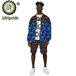 African Clothes for Men Print Jacket and Shorts 2 Piece Set Dashiki Outfits Open Front Coats Ankara Outwear Tracksuit S2016038