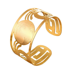 Ethiopian Big Bangles Africa Map Cuff Bracelets For Men/Women Gold/Silver Color  African Jewelry