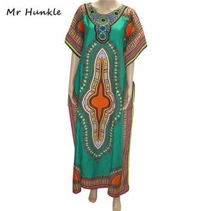 Mr Hunkle New Fashion Women's Dashiki Dress Cotton African Print Maxi Vestidos Robe Africaine Femme Dashiki Dress Women