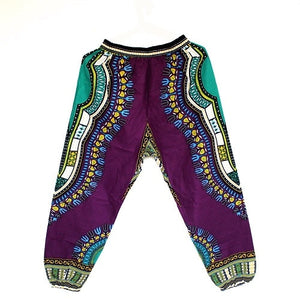 New Fashion Design African Traditional Print 100% Cotton Dashiki Sky Blue Pants